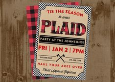 PLAID PARTY Printable Invitation Invite by HHpaperCO on Etsy