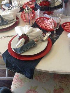 western party...LOVE the deconstructing the Blue Jeans for table scape