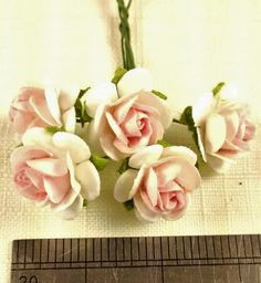 FF-105 $1.25 Miniature Blush Pink and White Paper Roses