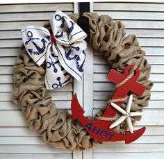 Nautical Burlap Wreath Nautical Wreath by MichiganStateOfMind