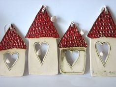 House dough ornaments for client gift Diy Clay, Clay Crafts, Diy And Crafts, Christmas Clay, Christmas Crafts, Christmas Ornaments, Homemade Christmas, Christmas Tree, Ceramics Projects