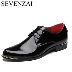 Pas cher Brillant robe chaussures blanc chaussures de mariage plat en cuir  verni mocassins hommes chaussures 96363618248