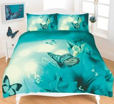 Duvet Cover Set Animal Print Effect Quilt Bedding Set New (Butterfly Teal, Single)