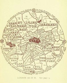 This map showing the boroughs of London, as they were in 18 Beautiful And Weird Maps That Will Change How You Think About London London Map, Old London, Vintage London, Old Maps Of London, Victorian London, South London, London History, British History, Cultures Du Monde