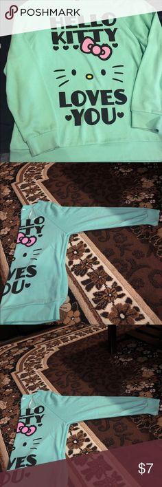 Hello kitty sweatshirt Teal hello kitty sweatshirt (does have small stain) Tops Sweatshirts & Hoodies