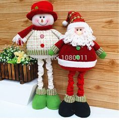 Christmas Decor Inch Stuffed Fabric Standing Santa Claus Large Red And Green Santa Claus Snowman Flexible Legs 2014 Loja Online Christmas Sewing, Christmas Fabric, Christmas Snowman, Christmas Ornaments, Country Christmas Decorations, Xmas Decorations, Easy Halloween Crafts, Christmas Crafts, Green Santa