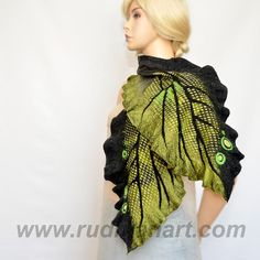 Felted Art scarf shawl made from Wool and hand dyed by RudmanArt, $139.00