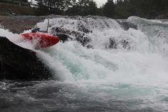Ultan O'Kane boofin the picnic drop on Upper Rauma Norway Valldal Road Trip 2012, see http://gene17kayaking.com/kayaking-adventures/norway-valldal-road-trip/