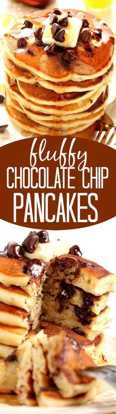 Fluffy Chocolate Chip Pancakes Recipe – fluffy buttermilk pancakes filled with chocolate chips to start your day right! Learn my trick to getting fluffy pancakes every time!