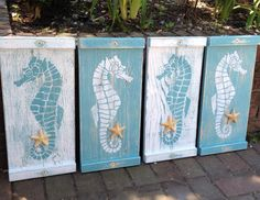 Seahorse Sign Wall Art Wood Wooden Beach House Decor - One Small Panel - Make a Headboard by CastawaysHall