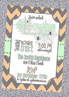 Halloween Costume Party Chevron Invitation - Digital File on Etsy, $8.00
