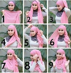 Pretty and simple. Set scarf even on head . Pin front edges behind neck. Pull both tails to one side with opposite one under. Loosely wrap under piece over head and under chin. Pin over ear where you started