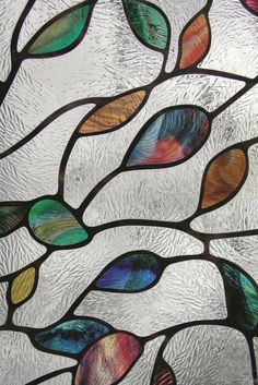 decoration Leaf no adhissisve stained glass window film 3ft x 10ft Privacy