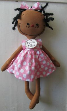 cloth rag doll African American handmade in Pink, Red and White Polka Dots. $30.00, via Etsy.