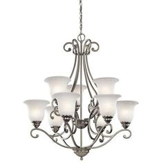 Kichler Camerena 9 Light 30  Wide 2-Tier Chandelier with Scavo Glass S