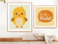 Prints Set Of Two Chick Art print hello World by MelimeBabyArt