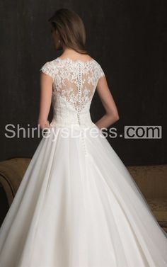 Romantic Scoop Neckline Lace Applique and English Net Chapel Length Train Wedding Ball Gown