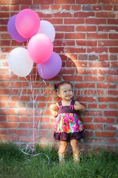 2 year old photo shoot. Balloons. Cowgirl Boots.