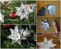 How to DIY Kanzashi Star Flower Christmas Ornament