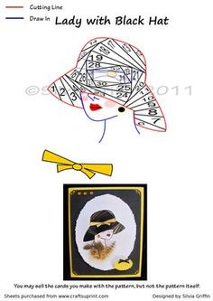 Lady with black Hat on Craftsuprint designed by Silvia Griffin - Like the way this came out - remember if the hat fits -buy it. :) Great for all kinds occasions from mom / MUM, Ants, Sisters, lady friends and more. Has a matching insert cup220659_262  - Now available for download!