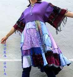 AuraGaia-039-s-Fringed-Sleeve-Poorgirl-Upcycled-Layering-or-Not-Tunic-Top-Dress-S-XL
