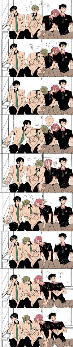 """I would probably be Sousuke. Just be like, """"Ok, now I can lean on Rin and go to sleep."""""""