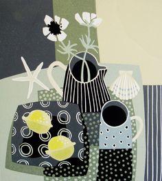 Jane Walker: Lemons and Striped Jug Illustration Art, Illustrations, Walker Art, Still Life Art, Naive Art, Linocut Prints, Art Plastique, Cool Artwork, Painting Inspiration