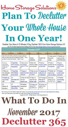 Free printable November 2017 #decluttering calendar with daily 15 minute missions. Follow the entire #Declutter365 plan provided by Home Storage Solutions 101 to #declutter your whole house in a year.