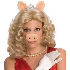 Perruque Miss Piggy The Muppets de Luxe sous Licence Officielle The Muppets avec Tiare, Oreilles et Nez