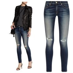 "Rag & Bone skinny distressed jeans Rag & Bone skinny distressed jeans. Medium to dark wash with faded areas.  Distressing on the knees.  Style W1502K520PAC 98% cotton 2% PU.  Brand new with tags still attached. Price is firm.  Waist measured when flat 17"".  Inseam 30"".  Rise 9"". rag & bone Jeans Skinny"