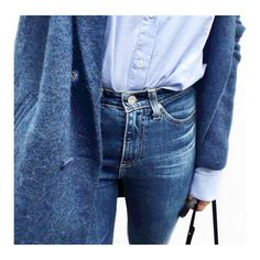 OUTFIT: | Jean Jacket OR Blue Coat that matches your Jean Pants + JEANS in color that MATCHES Coat + Tucked PALE BLUE Button-Down Blouse or a Chambray Shirt + ADD OVERSIZED Black Bag.