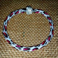 Neon Leopard Print Kumihimo Friendship Bracelet with Pave Magnetic Clasp - Pink