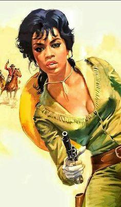 Pin Up, Pulp Fiction Art, Western Comics, Gun Art, West Art, Le Far West, Types Of Art, Erotic Art, Dark Skin