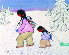 Art Print: Winter Walk Art Print by Cecil Youngfox : Nova Era, Native American Artists, Canadian Artists, Tropical Art, Indigenous Art, Aboriginal Art, Native Art, Find Art, Nativity
