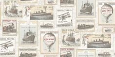 Memories 2 (G56144) - Galerie Wallpapers - A montage of ship/boat images with hot air balloons stream trains and aeroplanes in a vintage fashion. Shown here in cream, pale blue and red. This is a paste the wall product. Please ask for a sample for a true colour match.