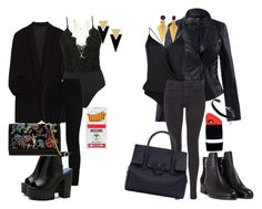 Black by tamara-katharina on Polyvore featuring polyvore, fashion, style, Maison Scotch, STELLA McCARTNEY, Kiki de Montparnasse, 3.1 Phillip Lim, Versace, Yves Saint Laurent, Moschino and clothing