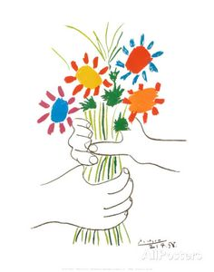 Blumenstrauß in der Hand Kunstdruck