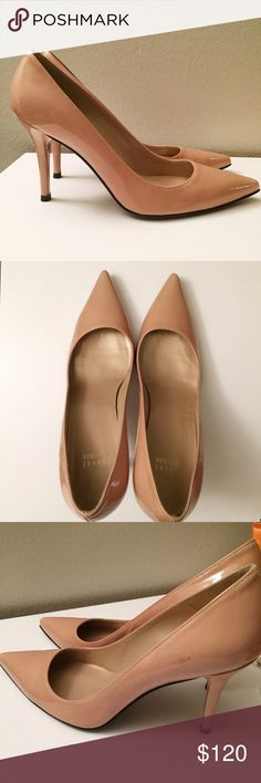 Stuart Weitzman Nude Patent Leather Pumps Great condition. Nude patent pumps. Classic sexy and chic. Gently worn with little signs or wear. One mark on leather as pictured. Patent leather upper. Leather sole. 4 inch heel. Made in Spain Stuart Weitzman Shoes Heels