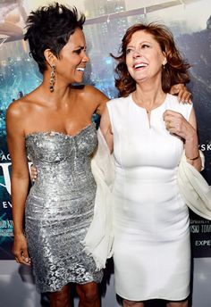 Halle Berry (in Dolce & Gabbana) and Susan Sarandon shared a giggle at the Oct. 24 Hollywood premiere of Cloud Atlas.