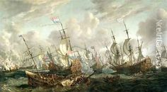 The Four Days Battle, 1-4 June 1666 Oil Painting, Abraham Storck Oil Paintings - NiceArtGallery.com