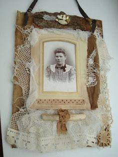 Vintage Lace and Cabinet Photo Collage