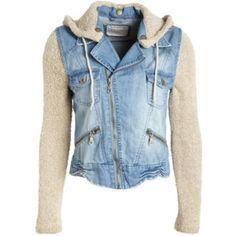 Billabong Jean Jacket Sweater knit material for hood and sleeves, removable hood Billabong Jackets & Coats Jean Jackets