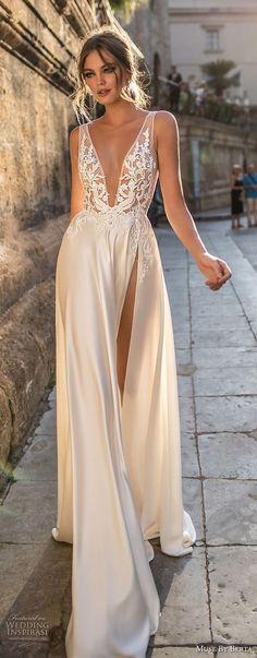 muse berta 2018 bridal sleeveless deep v neck heavily embellished bodice high slit skirt sexy elegant soft a line wedding dress sweep train (15) lv -- Muse by Berta 2018 Wedding Dresses