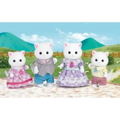 Collect all the members of the Persian Cat family with this Sylvanian Families Persian Cat Family Set. Father Arthur Teak just loves collecting furniture and his favourite carpet is the centrepiece of the beautiful Teak Family living room. Arthur can't help but collect pretty brick-a-brac and antique furniture, from teacups to vases. He has a particular soft spot for carpets as there are so many wonderful designs!Mother Cecilia, sometimes affectionately called 'Bo', loves designing dresses…