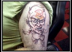 Dick Cheney  When in doubt, just cover up that old tat with one of an ex-vice president devil-goat.