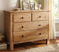 Reclaimed Wood Dresser - #potterybarn (distressed white finish to match headboard and different hardware)