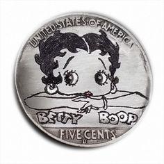 Betty Boop #330 Hand Engraved  Hobo Nickel  by Luis A Ortiz