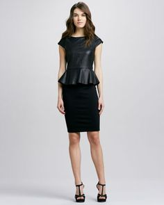Victoria Leather-Top Peplum Dress by Alice + Olivia at Neiman Marcus.