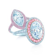 From left: ring in platinum with a 3.04-carat, internally flawless marquise diamond and pink diamonds; ring in platinum and 18k rose gold with a 6.00-carat oval diamond and pink and white diamonds. Tiffany Blue Book