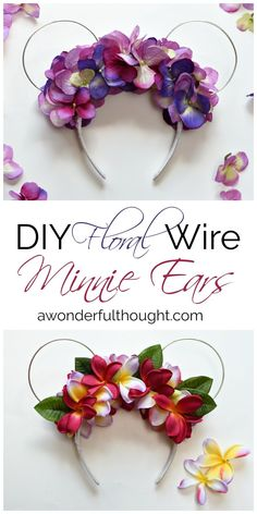 DIY Floral Wire Minnie Ears | awonderfulthought.com